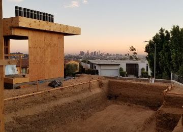 Hillside rough framing project in Downtown Los Angeles